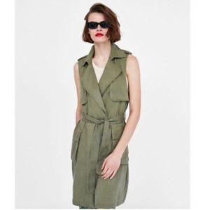 Zara Long Army Green Waistcoat with Belt, Size Sm